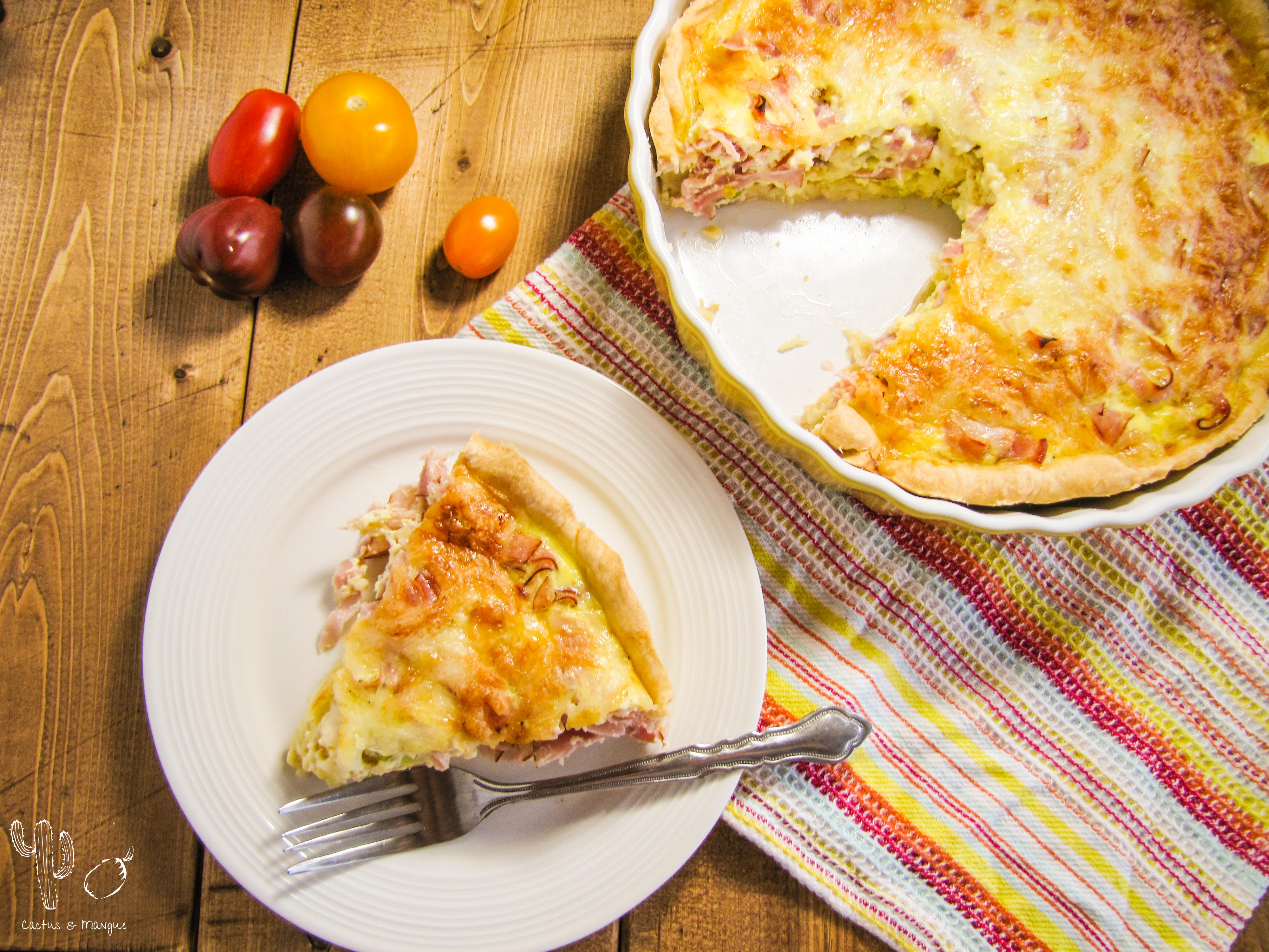Quiche jambon, poireau et fromage suisse